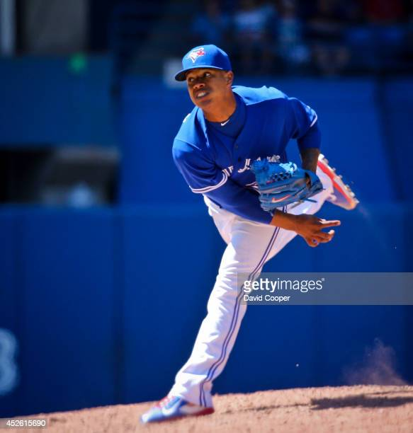 Marcus Stroman of the Toronto Blue Jays went 7 shutout innings as the Toronto Blue Jays defeated the Boston Red Sox 8-0 at the Rogers Centre July 24,...