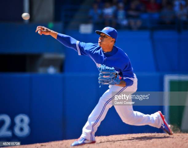 TORONTO ON JULY 24 Marcus Stroman of the Toronto Blue Jays went 7 shutout innings as the Toronto Blue Jays defeated the Boston Red Sox 80 at the...