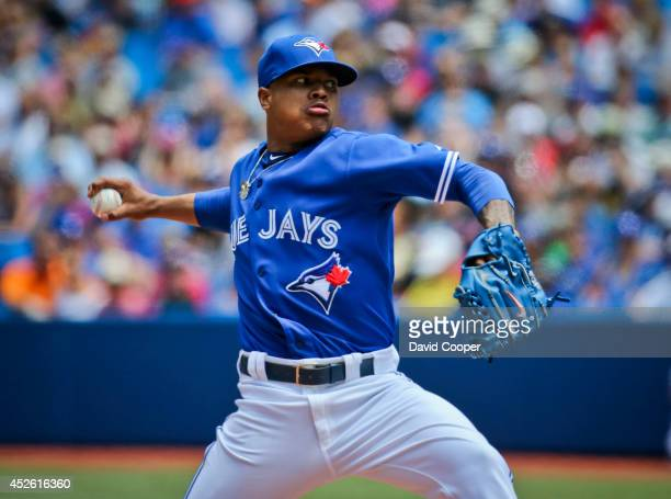 Marcus Stroman of the Toronto Blue Jays went seven shutout innings as the Toronto Blue Jays defeated the Boston Red Sox 8-0 at the Rogers Centre July...