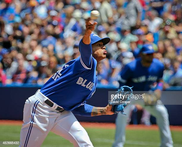 TORONTO ON JULY 24 Marcus Stroman of the Toronto Blue Jays went seven shutout innings as the Toronto Blue Jays defeated the Boston Red Sox 80 at the...