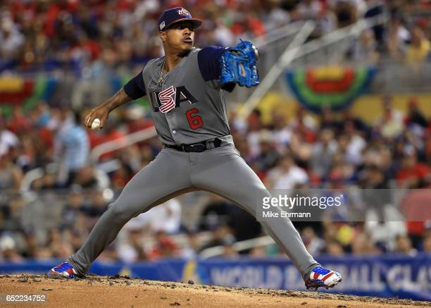 Marcus Stroman of the United States pitches during a Pool C game of the 2017 World Baseball Classic against the Dominican Republic at Miami Marlins...