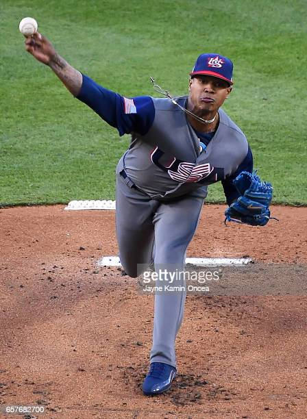 Marcus Stroman of the United States pitches in the final game of the 2017 World Baseball Classic defeating Puerto Rico at Dodger Stadium on March 22...