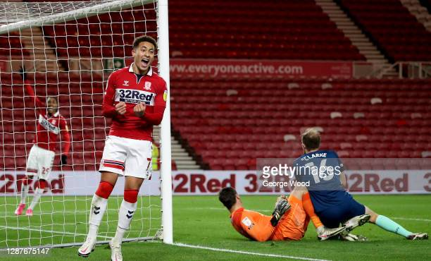 Marcus Tavernier of Middleborough celebrates after Matthew Clarke of Derby County scores an own goal during the Sky Bet Championship match between...