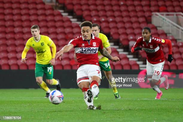 Marcus Tavernier of Middlesborough misses a penalty during the Sky Bet Championship match between Middlesbrough and Norwich City at Riverside Stadium...
