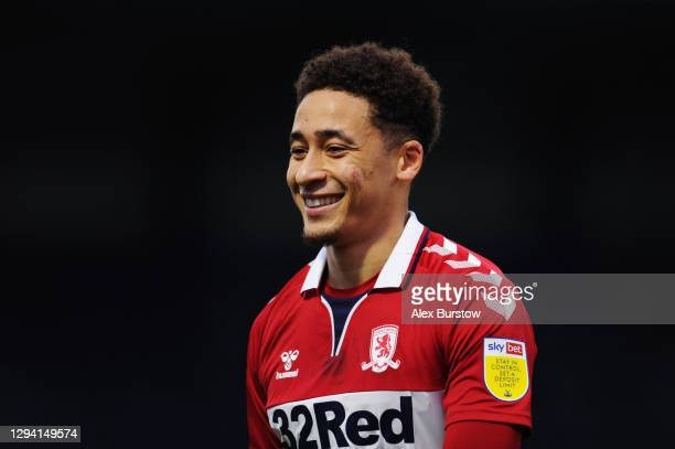 Marcus Tavernier of Middlesborough reacts during the Sky Bet Championship match between Wycombe Wanderers and Middlesbrough at Adams Park on January...