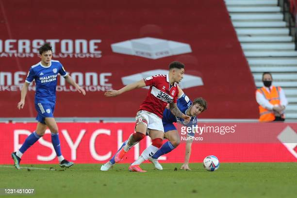 Marcus Tavernier of Middlesbrough and Will Vaulks of Cardiff City during the Sky Bet Championship match between Middlesbrough and Cardiff City at the...