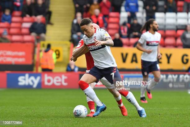 Marcus Tavernier of Middlesbrough battles for possession with Jonny Williams of Charlton during the Sky Bet Championship match between Charlton...