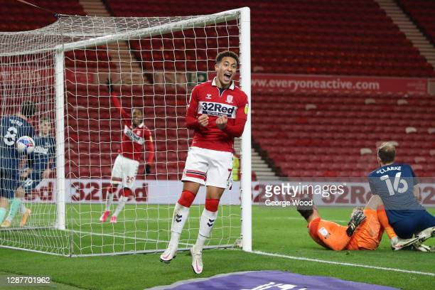 Marcus Tavernier of Middlesbrough celebrates after Matthew Clarke of Derby County scores an own goal during the Sky Bet Championship match between...