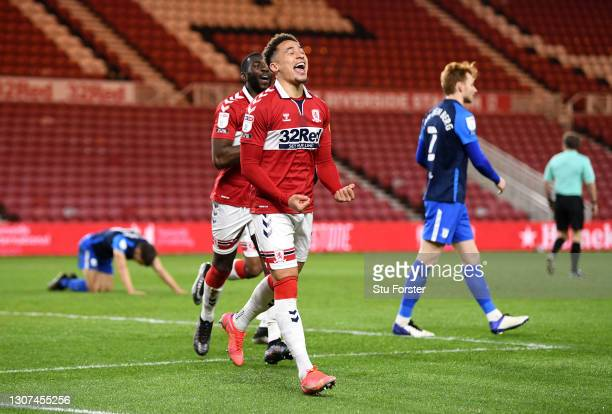 Marcus Tavernier of Middlesbrough celebrates after scoring their side's second goal during the Sky Bet Championship match between Middlesbrough and...