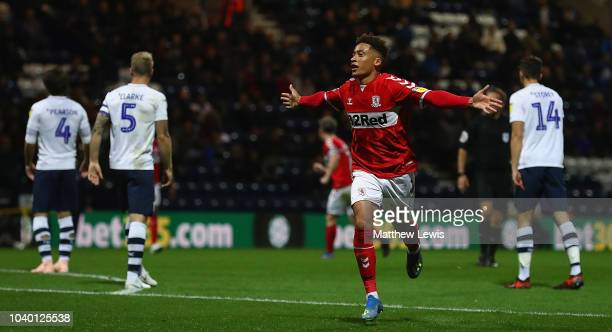 Marcus Tavernier of Middlesbrough celebrates his goal during the Carabao Cup Third Round match between Preston North End and Middlesbrough at...
