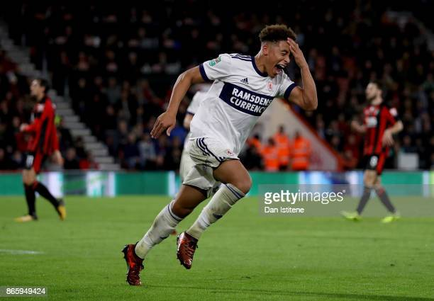 Marcus Tavernier of Middlesbrough celebrates scoring his sides first goal during the Carabao Cup Fourth Round match between AFC Bournemouth and...