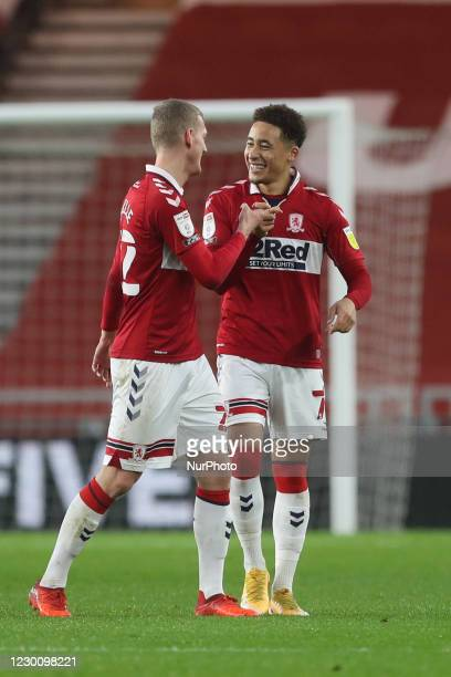 Marcus Tavernier of Middlesbrough celebrates with George Saville after scoring their second goal during the Sky Bet Championship match between...