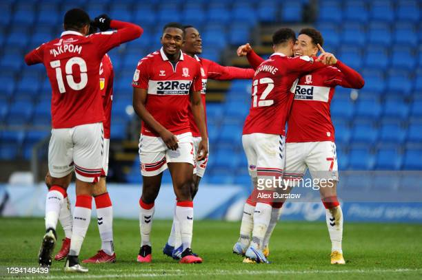 Marcus Tavernier of Middlesbrough celebrates with teammate Marcus Browne after scoring their team's second goal during the Sky Bet Championship match...