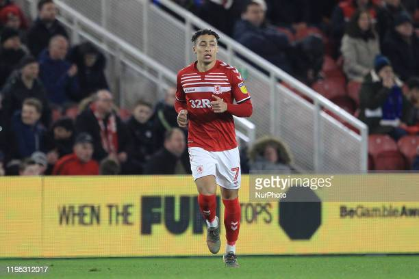 Marcus Tavernier of Middlesbrough during the Sky Bet Championship match between Middlesbrough and Birmingham City at the Riverside Stadium,...