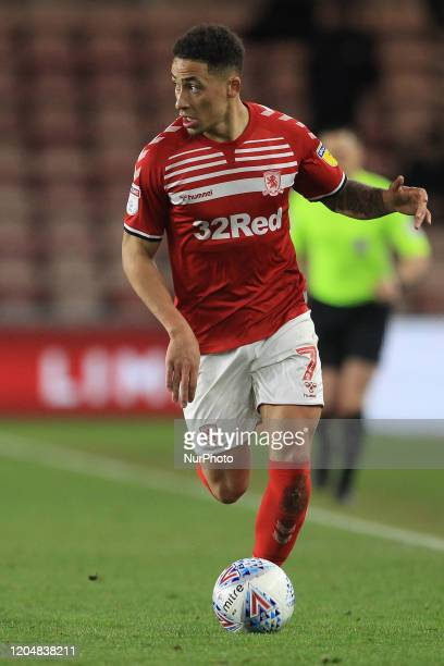 Marcus Tavernier of Middlesbrough during the Sky Bet Championship match between Middlesbrough and Nottingham Forest at the Riverside Stadium...