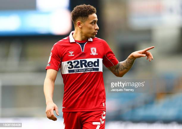 Marcus Tavernier of Middlesbrough looks on during the Sky Bet Championship match between Millwall and Middlesbrough at The Den on March 20, 2021 in...