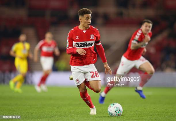 Marcus Tavernier of Middlesbrough runs with the ball during the Carabao Cup Fourth Round match between Middlesbrough and Crystal Palace at Riverside...