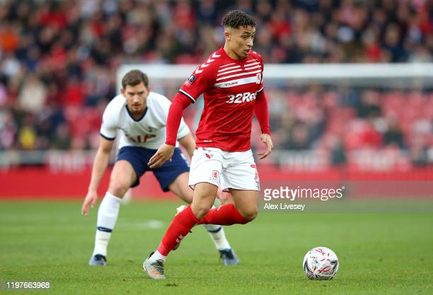 Marcus Tavernier of Middlesbrough runs with the ball during the FA Cup Third Round match between Middlesbrough and Tottenham Hotspur at Riverside...