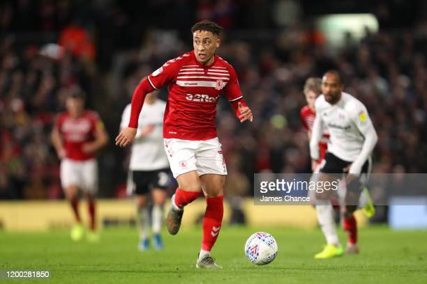 Marcus Tavernier of Middlesbrough runs with the ball during the Sky Bet Championship match between Fulham and Middlesbrough at Craven Cottage on...