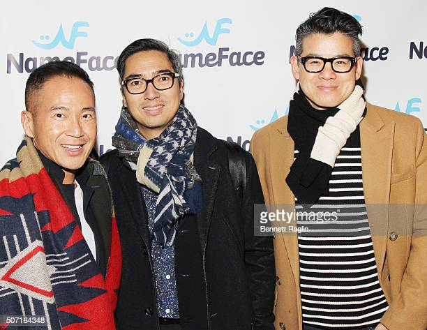 Marcus Teo Rafe Totengco and Peter Som attend the NameFacecom launch party at No 8 on January 27 2016 in New York City