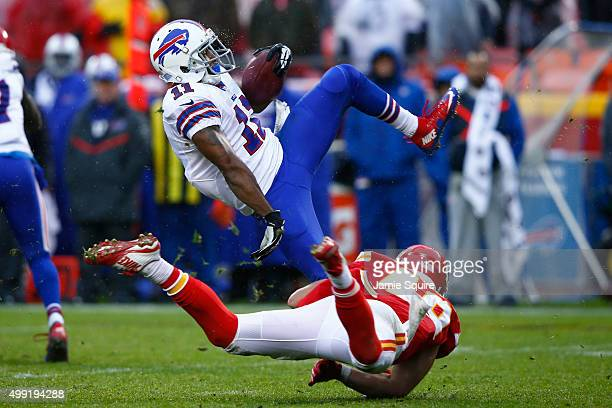 Marcus Thigpen of the Buffalo Bills is tackled by Daniel Sorensen of the Kansas City Chiefs at Arrowhead Stadium during the third quarter of the game...