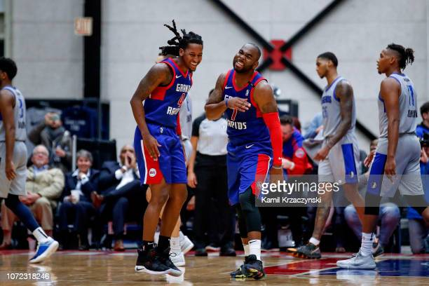 Marcus Thornton celebrates with Speedy Smith of the Grand Rapids Drive his game winning basket against the Texas Legends on December 12 2018 at...