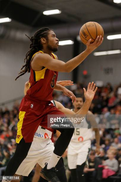 Marcus Thornton of the Canton Charge drives to the basket against the Wisconsin Herd during the NBA GLeague game on March 23 2018 at the Menominee...