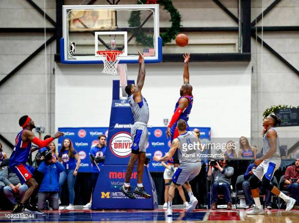 Marcus Thornton of the Grand Rapids Drive shoots a game winning basket against the Texas Legends on December 12 2018 at DeltaPlex Arena in Grand...