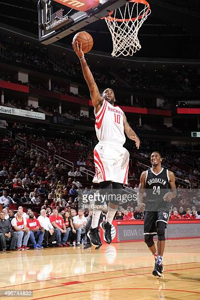 Marcus Thornton of the Houston Rockets goes to the basket against Rondae HollisJefferson of the Brooklyn Nets on November 11 2015 at the Toyota...