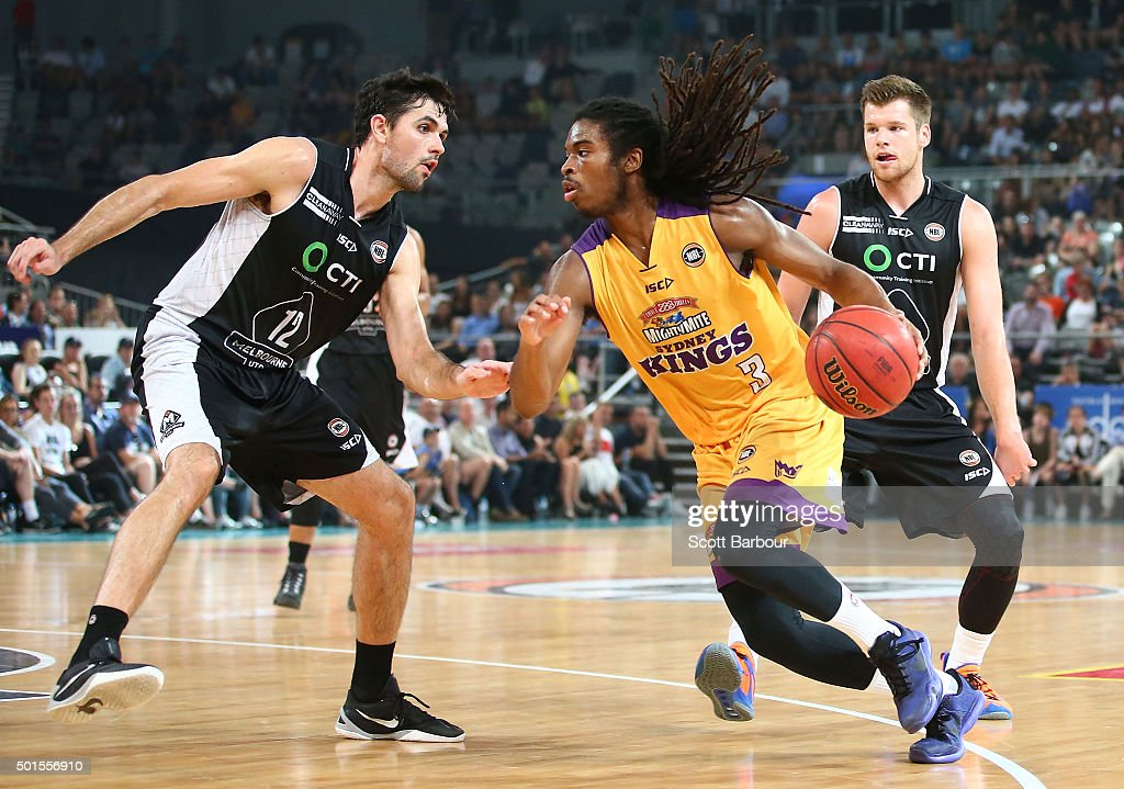Marcus Thornton of the Sydney Kings drives to the basket as Todd Blanchfield of Melbourne United defends during the round 11 NBL match between Melbourne United and Sydney Kings at Hisense Arena on December 16, 2015 in Melbourne, Australia.