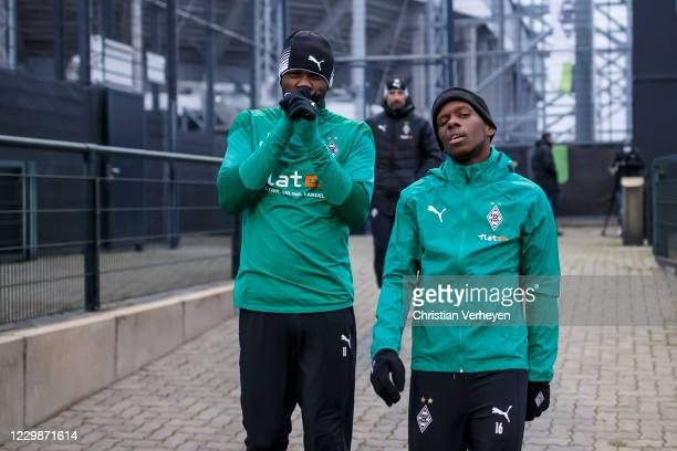 Marcus Thuram and Ibrahima Traore are seen during a training session of Borussia Moenchengladbach ahead the Group B - UEFA Champions League match...
