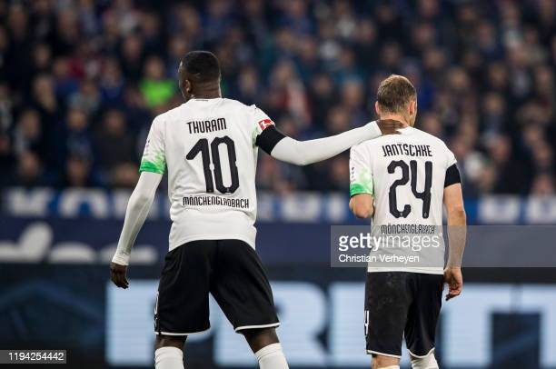Marcus Thuram and Tony Jantschke of Borussia Moenchengladbach are seen during the Bundesliga match between FC Schalke 04 and Borussia...