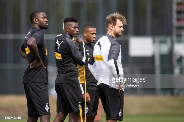 Marcus Thuram Breel Embolo Alassane Plea and Rene Maric are seen during a Borussia Moenchengladbach Training Session at BorussiaPark on August 02...