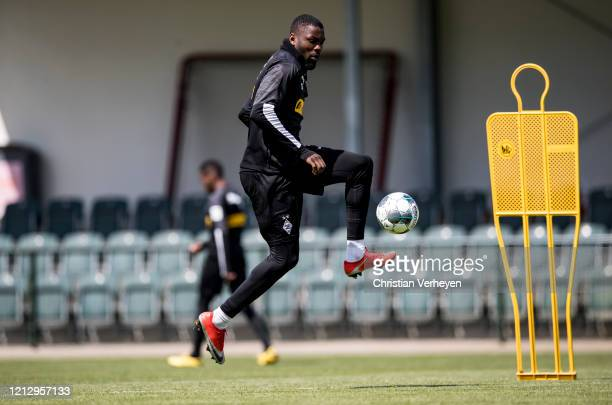 Marcus Thuram in action during a training session of Borussia Moenchengladbach at BorussiaPark on May 14 2020 in Moenchengladbach Germany