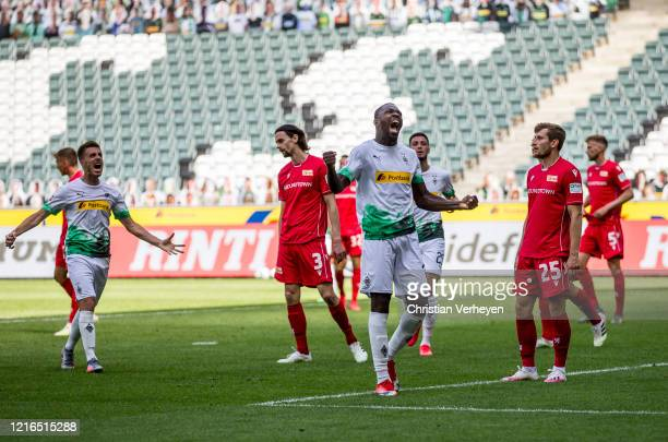 Marcus Thuram of Borussia Moenchengladbach celebrate his goal during the Bundesliga match between Borussia Moenchengladbach and 1 FC Union Berlin at...