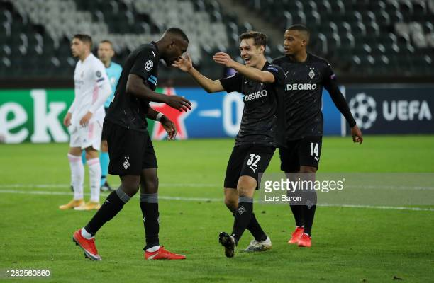 Marcus Thuram of Borussia Moenchengladbach celebrates after scoring his team's second goal during the UEFA Champions League Group B stage match...