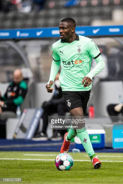 Marcus Thuram of Borussia Moenchengladbach in action during the Bundesliga match between Hertha BSC and Borussia Moenchengladbach at Olympiastadion...