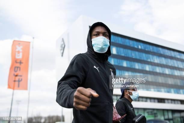 Marcus Thuram of Borussia Moenchengladbach is seen before the Bundesliga match between Borussia Moenchengladbach and Eintracht Frankfurt at...