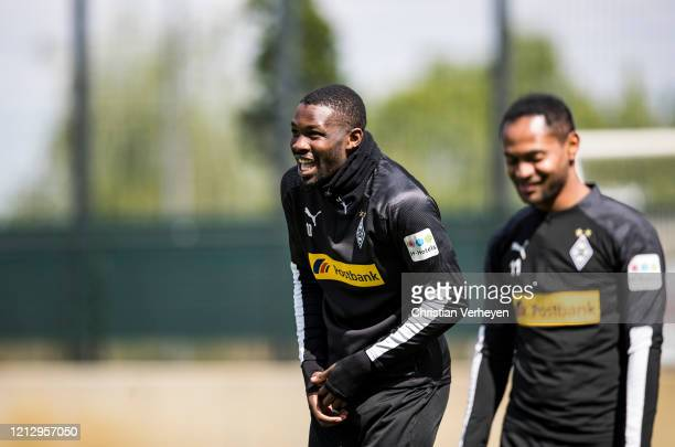 Marcus Thuram of Borussia Moenchengladbach is seen during a training session of Borussia Moenchengladbach at Borussia-Park on May 14, 2020 in...