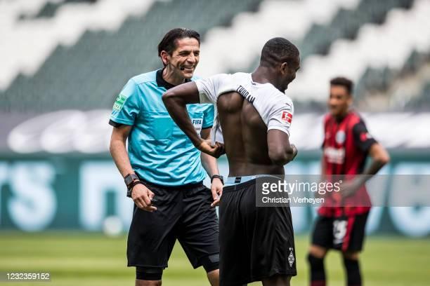 Marcus Thuram of Borussia Moenchengladbach is seen during the Bundesliga match between Borussia Moenchengladbach and Eintracht Frankfurt at...