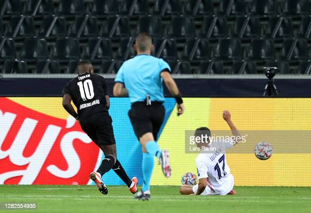 Marcus Thuram of Borussia Moenchengladbach scores his sides first goal during the UEFA Champions League Group B stage match between Borussia...