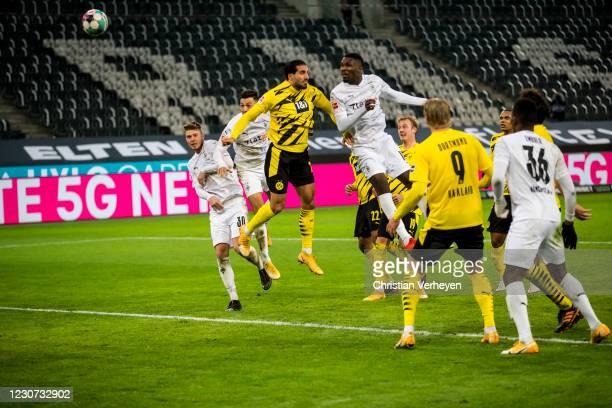 Marcus Thuram of Borussia Moenchengladbach scores his teams fourth goal during the Bundesliga match between Borussia Moenchengladbach and Borussia...