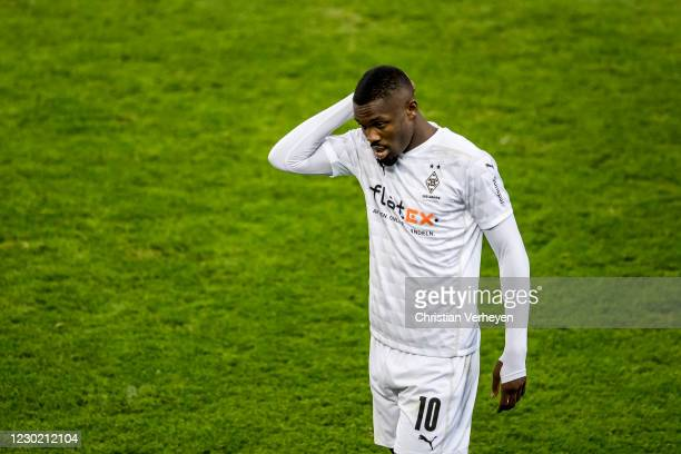 Marcus Thuram of Borussia Moenchengladbach sees the red card during the Bundesliga match between Borussia Moenchengladbach and TSG Hoffenheim at...