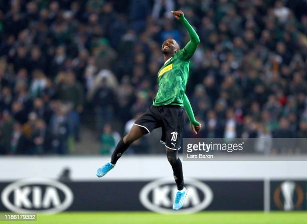 Marcus Thuram of Borussia Monchengladbach celebrates victory during the UEFA Europa League group J match between Borussia Moenchengladbach and AS...