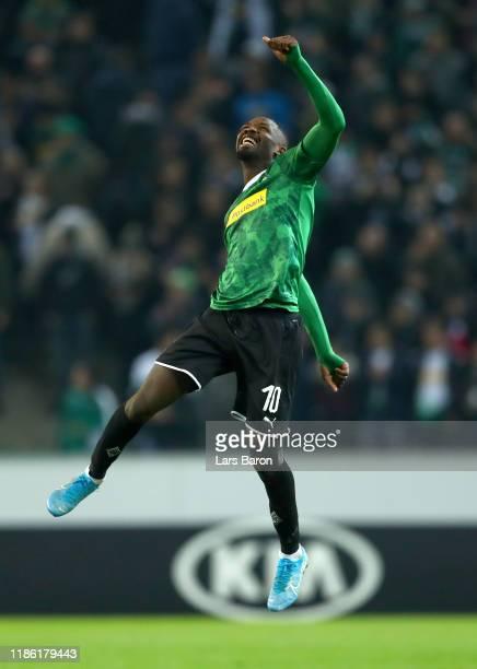 Marcus Thuram of Borussia Monchengladbach celebrates victory during the UEFA Europa League group J match between Borussia Moenchengladbach and AS...