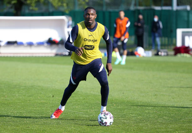 Marcus Thuram of France during Team France training session at INF Clairefontaine on May 27, 2021 in Clairefontaine-en-Yvelines, France.
