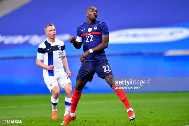Marcus Thuram of France reacts during the international friendly match between France and Finland at Stade de France on November 11, 2020 in Paris,...