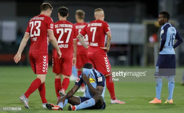 Marcus Thuram of Moenchengladbach reacts during the Bundesliga match between SportClub Freiburg and Borussia Moenchengladbach at SchwarzwaldStadion...