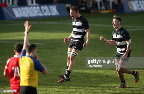 Marcus Tiffen of Newcastle Falcons celebrates after the Newcastle Falcons v Bristol Bears fifth sixth place playoff match at Sixways Stadium on...