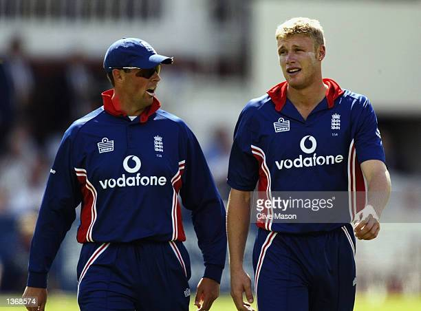 Marcus Trescothick and Andrew Flintoff of England during the match between England and India in the NatWest One Day Series Final at Lord's in London...